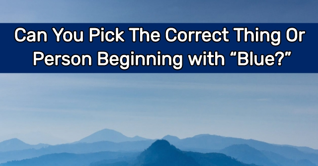 "Can You Pick The Correct Thing Or Person Beginning with ""Blue?"""